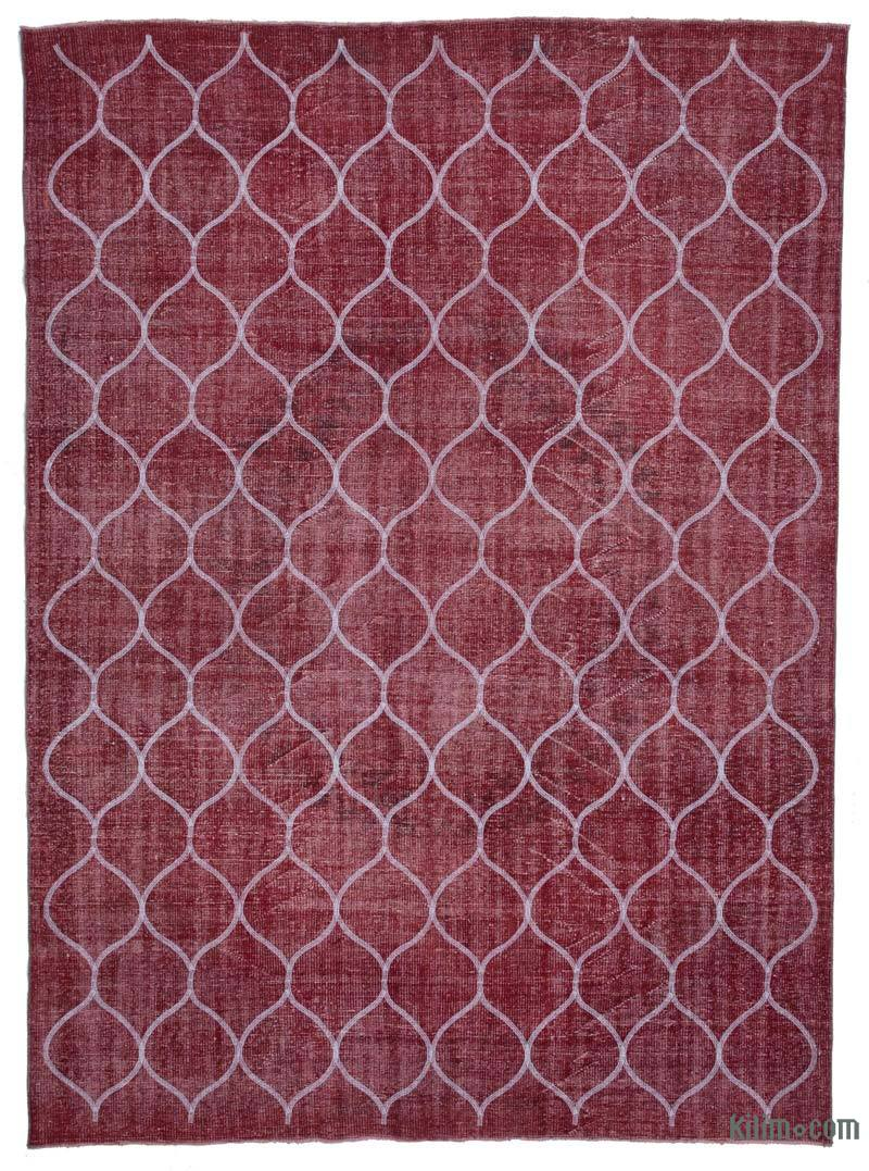 Red Embroidered Over-dyed Turkish Vintage Rug - 7' 5# x 10' 2# (89 in. x 122 in.) - K0038599
