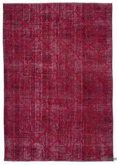 Kırmızı İşlemeli ve Boyalı El Dokuma Vintage Halı - 212 cm x 307 cm
