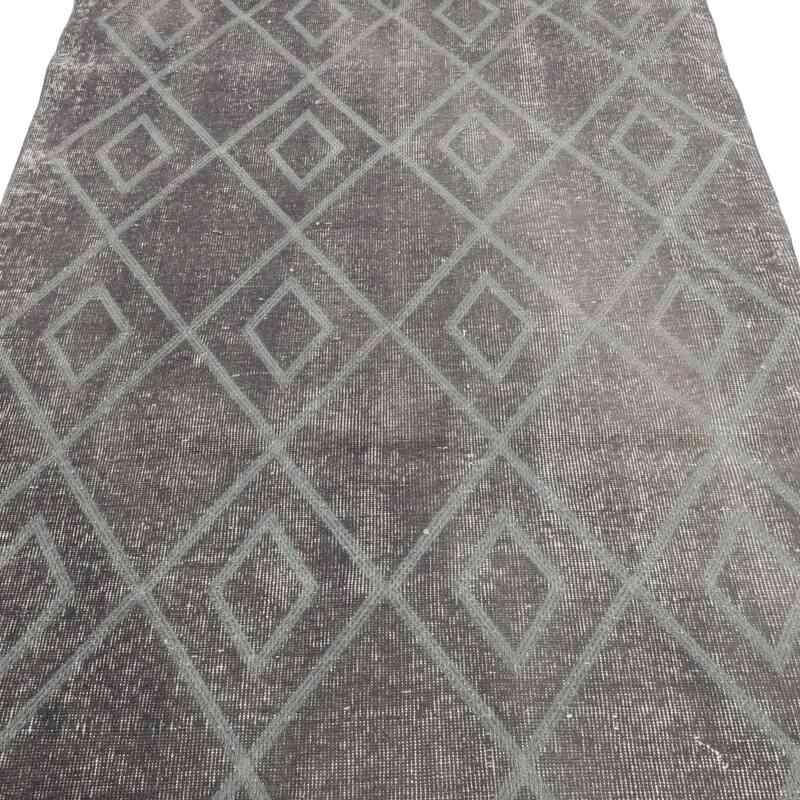 Gri İşlemeli ve Boyalı El Dokuma Vintage Halı - 107 cm x 328 cm - K0038604