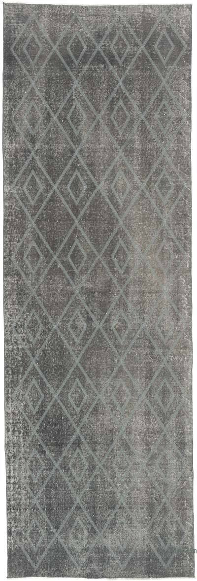 "Grey Embroidered Over-dyed Turkish Vintage Runner - 3' 6"" x 10' 9"" (42 in. x 129 in.)"