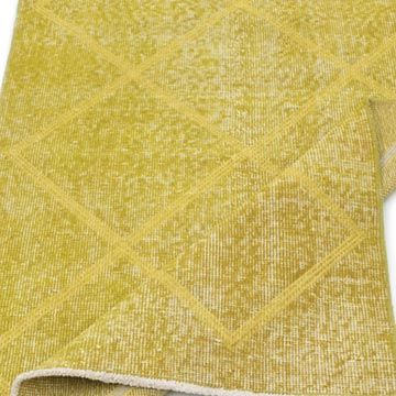 """Yellow Embroidered Over-dyed Turkish Vintage Runner - 2' 9"""" x 9' 7"""" (33 in. x 115 in.) - K0038605"""