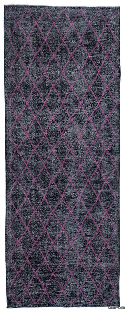 "Black Embroidered Over-dyed Turkish Vintage Runner - 4' 9"" x 12' 7"" (57 in. x 151 in.)"