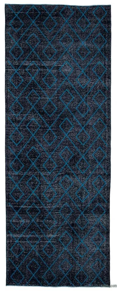 """Black Embroidered Over-dyed Turkish Vintage Runner - 4' 10"""" x 13' 1"""" (58 in. x 157 in.)"""