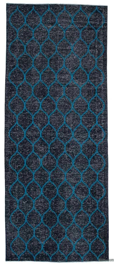 "Embroidered Over-dyed Turkish Vintage Runner - 4' 10"" x 11' 11"" (58 in. x 143 in.)"