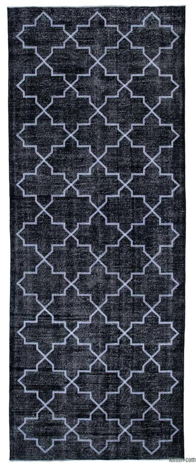 """Embroidered Over-dyed Turkish Vintage Runner - 4'8"""" x 12'2"""" (56 in. x 146 in.)"""