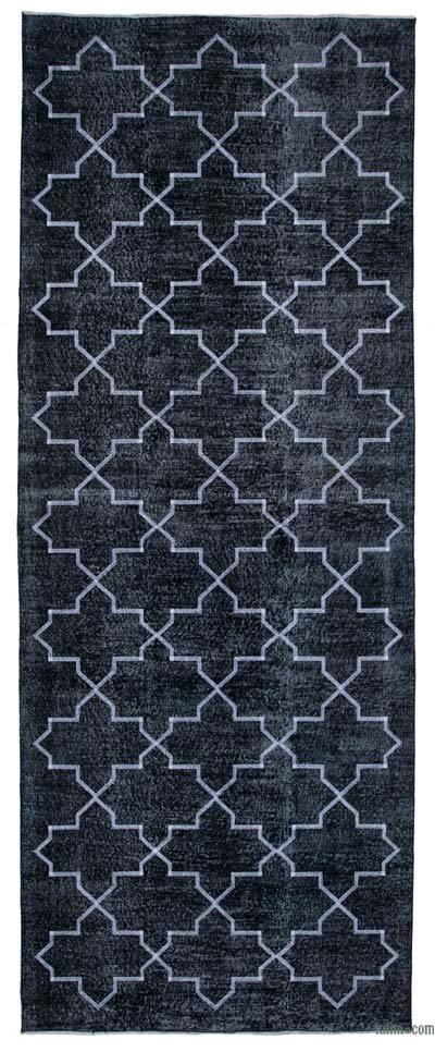 """Black Embroidered Over-dyed Turkish Vintage Runner - 4' 9"""" x 12' 4"""" (57 in. x 148 in.)"""