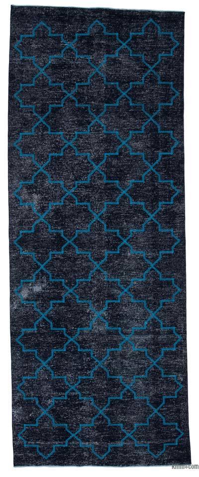 İşlemeli ve Boyalı El Dokuma Vintage Halı - 145 cm x 375 cm