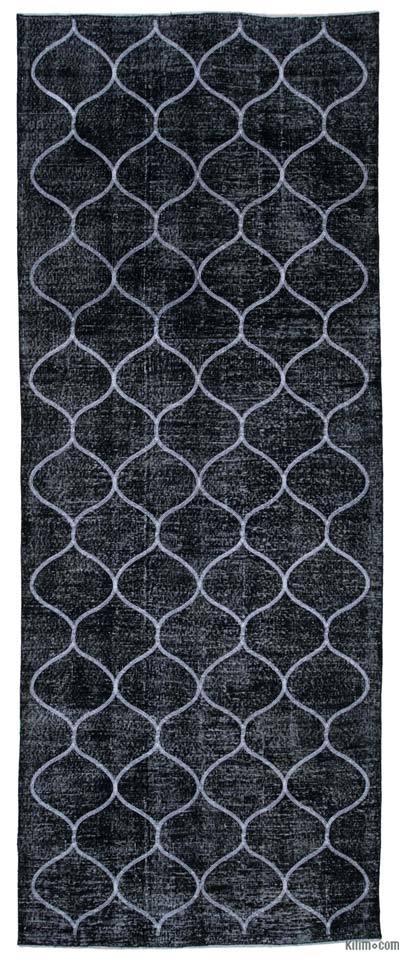 Negro Alfombra Turca bordada sobre teñida vintage - 142 cm x 362 cm