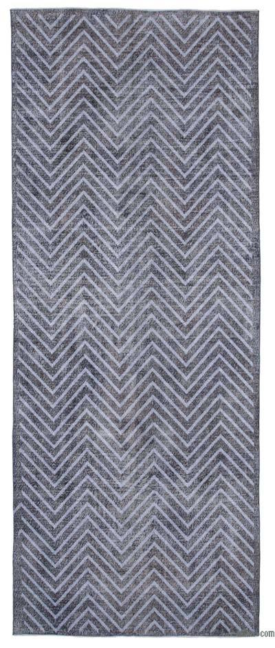 """Embroidered Over-dyed Turkish Vintage Runner - 4' 11"""" x 12' 5"""" (59 in. x 149 in.)"""