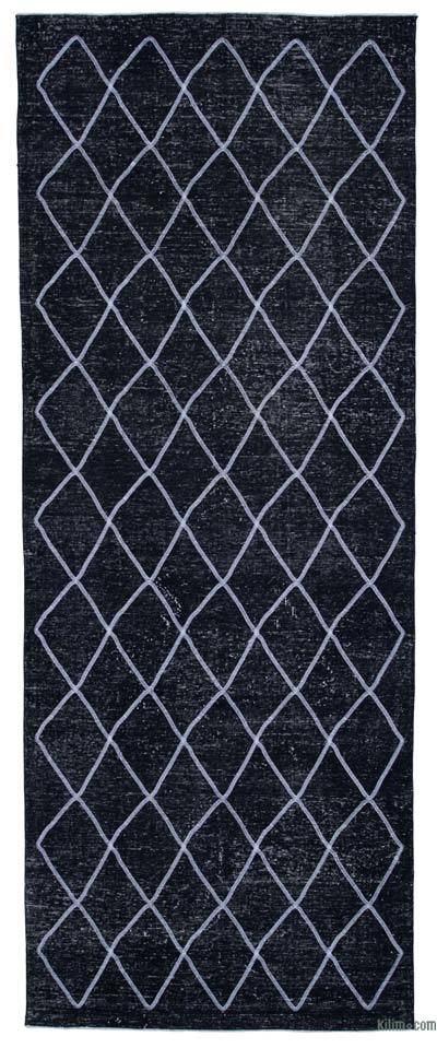"""Embroidered Over-dyed Turkish Vintage Runner - 4'9"""" x 12'3"""" (57 in. x 147 in.)"""