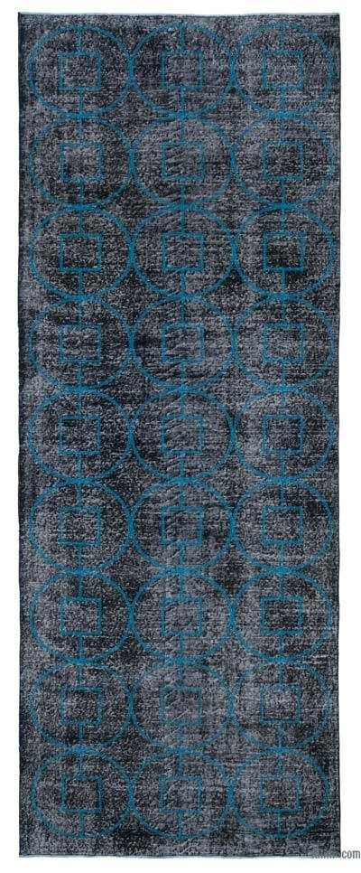 "Embroidered Over-dyed Turkish Vintage Runner - 4' 7"" x 12' 3"" (55 in. x 147 in.)"