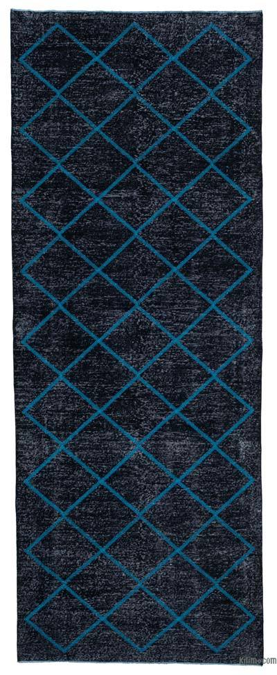 "Embroidered Over-dyed Turkish Vintage Runner - 4' 8"" x 12' 3"" (56 in. x 147 in.)"