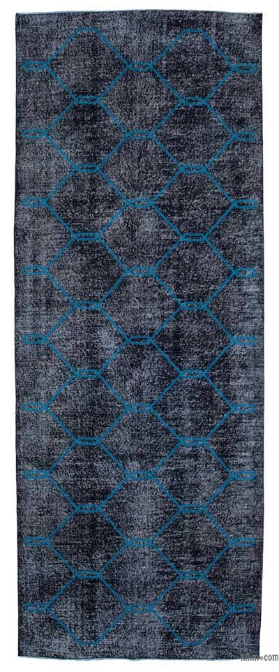"Embroidered Over-dyed Turkish Vintage Runner - 4' 9"" x 12' 8"" (57 in. x 152 in.)"