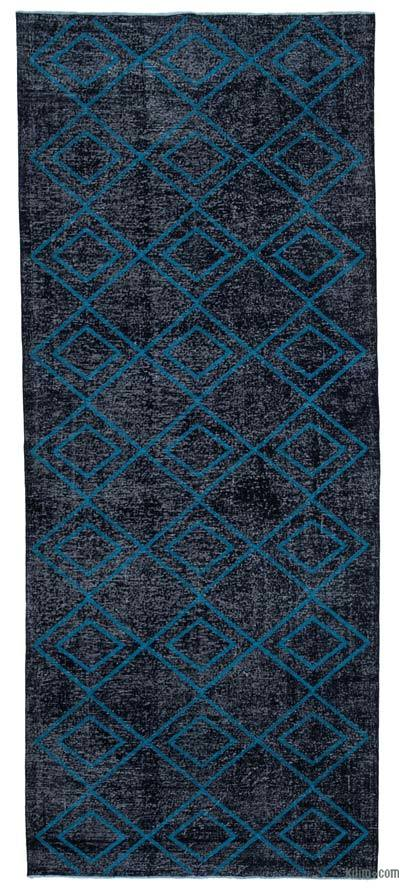 "Embroidered Over-dyed Turkish Vintage Runner - 4' 9"" x 11' 9"" (57 in. x 141 in.)"