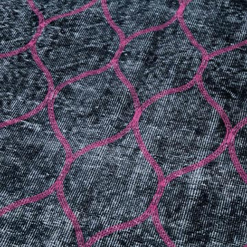 """Black Embroidered Over-dyed Turkish Vintage Runner - 4' 9"""" x 11' 7"""" (57 in. x 139 in.) - K0038629"""