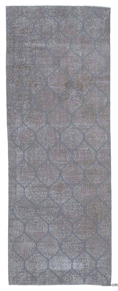 "Embroidered Over-dyed Turkish Vintage Runner - 3'8"" x 9'11"" (44 in. x 119 in.)"
