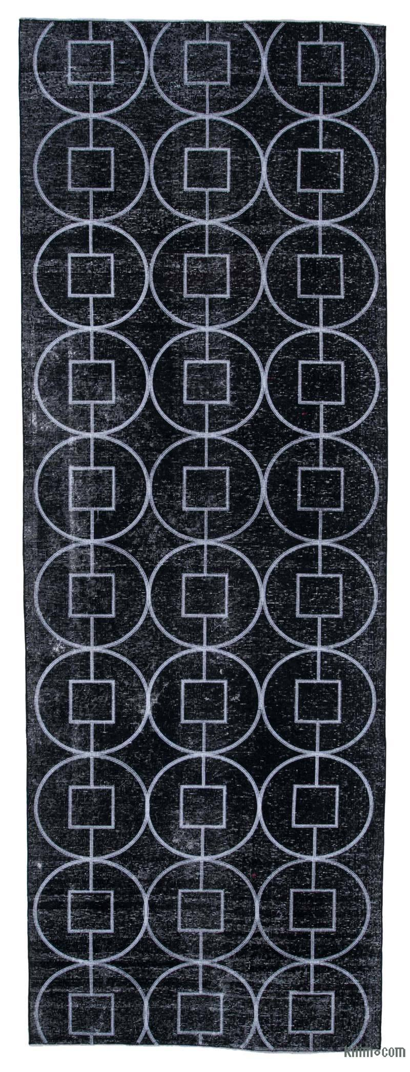 """Black Embroidered Over-dyed Turkish Vintage Runner - 4' 6"""" x 12' 10"""" (54 in. x 154 in.) - K0038632"""