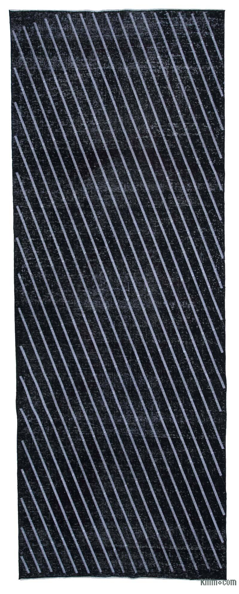 """Black Embroidered Over-dyed Turkish Vintage Runner - 4' 11"""" x 13' 1"""" (59 in. x 157 in.) - K0038634"""