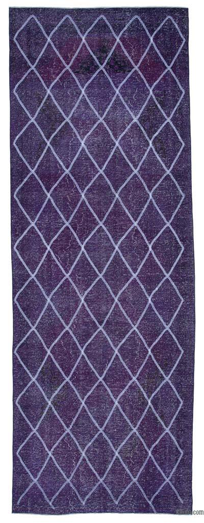 """Embroidered Over-dyed Turkish Vintage Runner - 4' 7"""" x 12' 10"""" (55 in. x 154 in.)"""