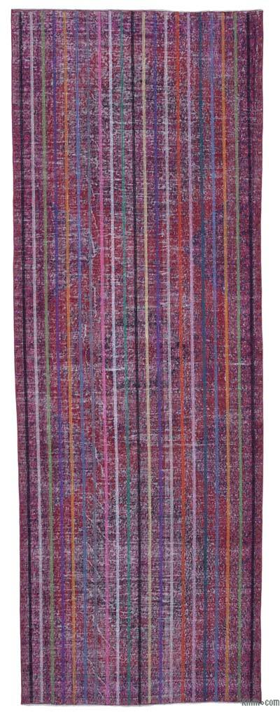 """Pink Embroidered Over-dyed Turkish Vintage Runner - 4' 6"""" x 12' 10"""" (54 in. x 154 in.)"""