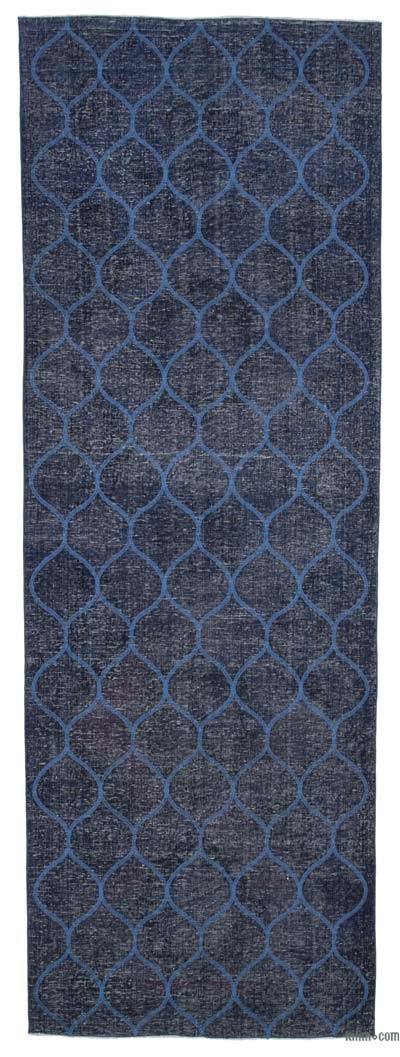"Embroidered Over-dyed Turkish Vintage Runner - 4'7"" x 13'1"" (55 in. x 157 in.)"