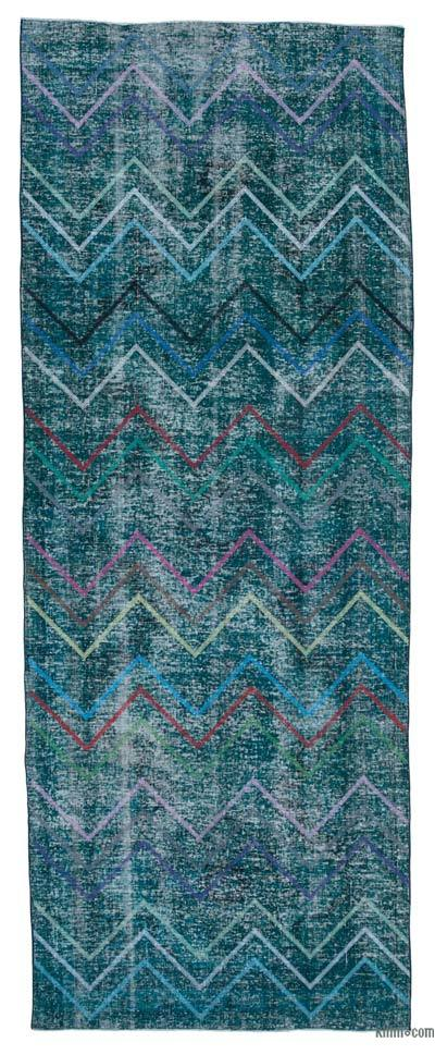 "Embroidered Over-dyed Turkish Vintage Runner - 4' 7"" x 12' 1"" (55 in. x 145 in.)"