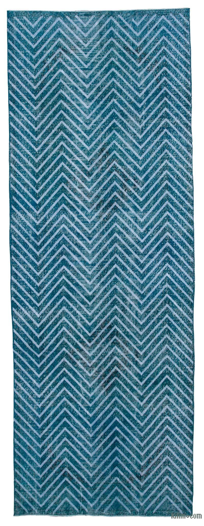 """Embroidered Over-dyed Turkish Vintage Runner - 4' 8"""" x 13' 1"""" (56 in. x 157 in.) - K0038640"""