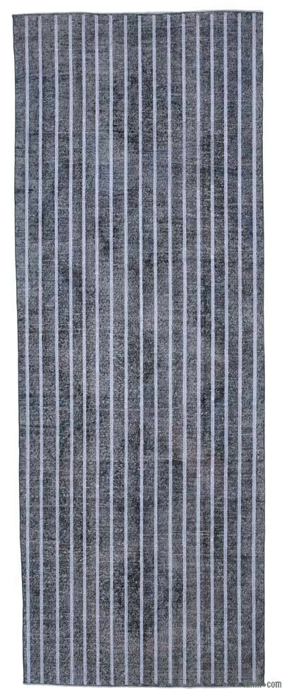 """Grey Embroidered Over-dyed Turkish Vintage Runner - 4' 6"""" x 9' 5"""" (54 in. x 113 in.)"""