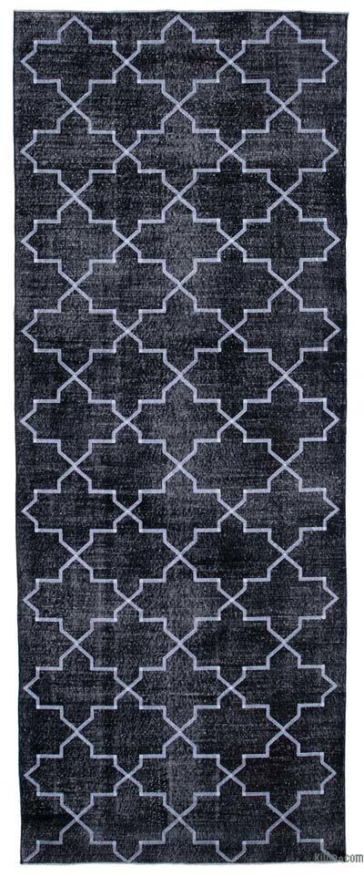 """Black Embroidered Over-dyed Turkish Vintage Runner - 4' 10"""" x 12' 7"""" (58 in. x 151 in.)"""