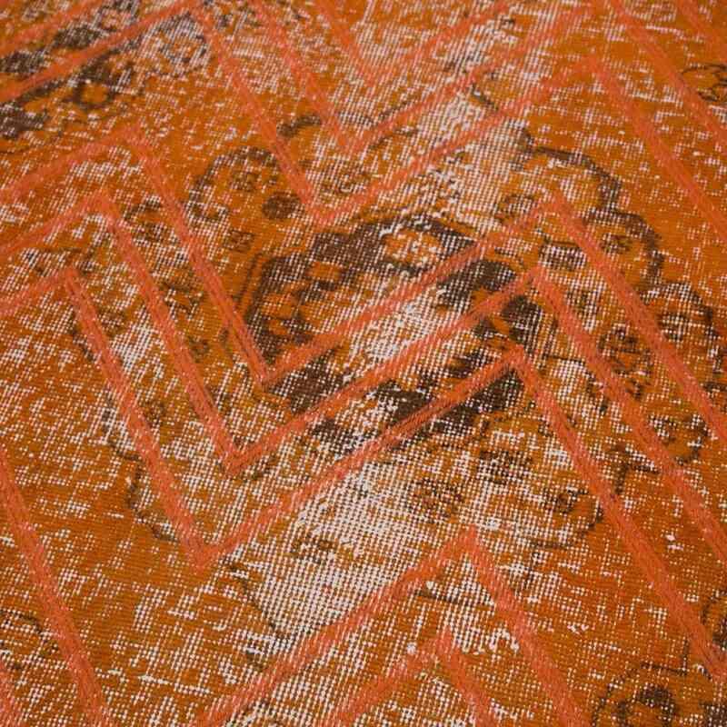 "Orange Embroidered Over-dyed Turkish Vintage Runner - 4' 6"" x 12' 6"" (54 in. x 150 in.) - K0038643"