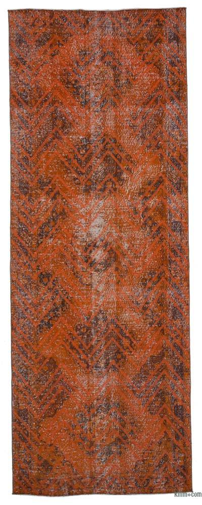 "Embroidered Over-dyed Turkish Vintage Runner - 4'6"" x 12'6"" (54 in. x 150 in.)"