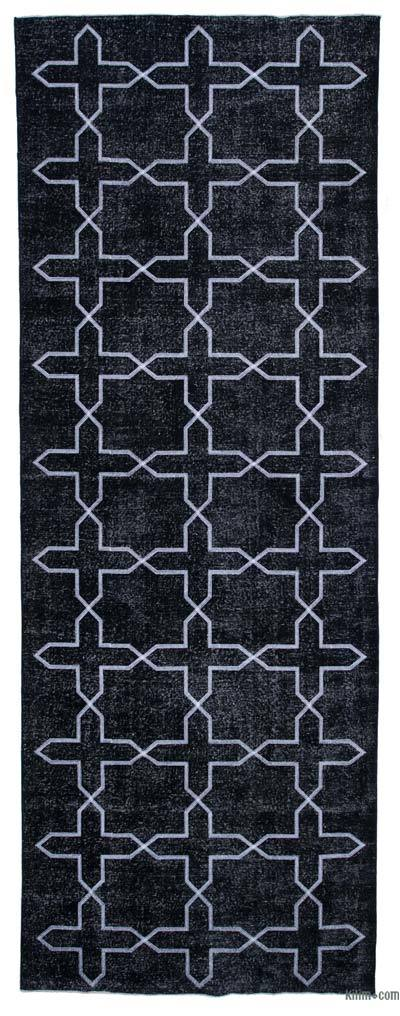 "Black Embroidered Over-dyed Turkish Vintage Runner - 4' 9"" x 13' 4"" (57 in. x 160 in.)"