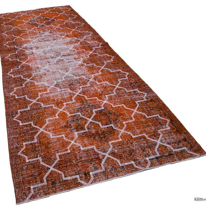 "Orange Embroidered Over-dyed Turkish Vintage Runner - 4' 9"" x 12' 6"" (57 in. x 150 in.) - K0038646"