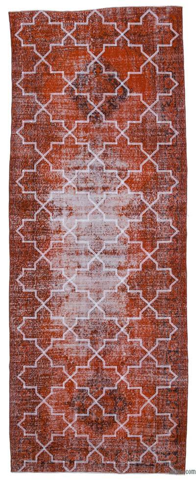 "Embroidered Over-dyed Turkish Vintage Runner - 4' 9"" x 12' 6"" (57 in. x 150 in.)"