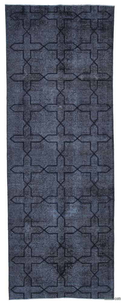 "Black Embroidered Over-dyed Turkish Vintage Runner - 4' 7"" x 12' 8"" (55 in. x 152 in.)"