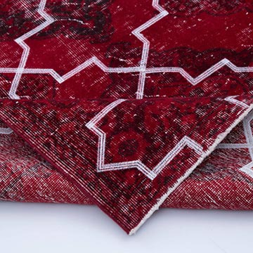 """Red Embroidered Over-dyed Turkish Vintage Runner - 4' 10"""" x 11' 6"""" (58 in. x 138 in.) - K0038650"""
