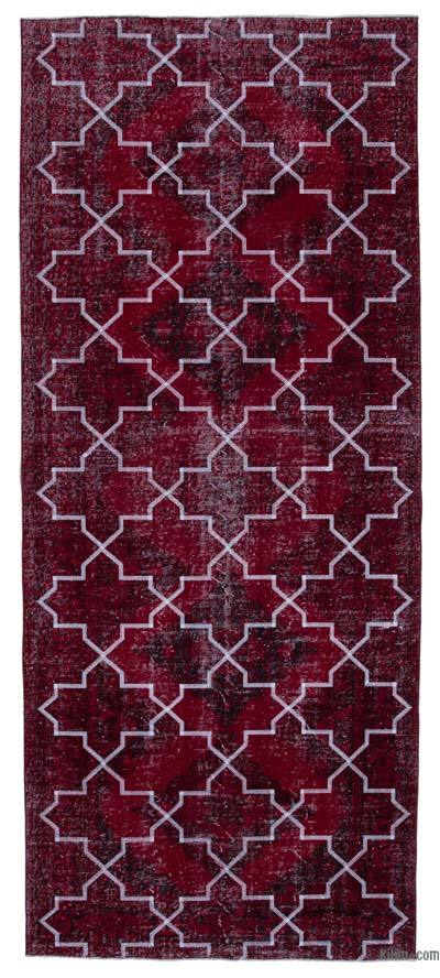 "Embroidered Over-dyed Turkish Vintage Runner - 4' 10"" x 11' 6"" (58 in. x 138 in.)"