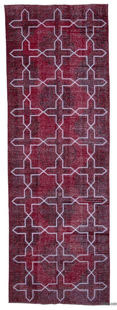"Embroidered Over-dyed Turkish Vintage Runner - 4' 7"" x 13' 6"" (55 in. x 162 in.)"