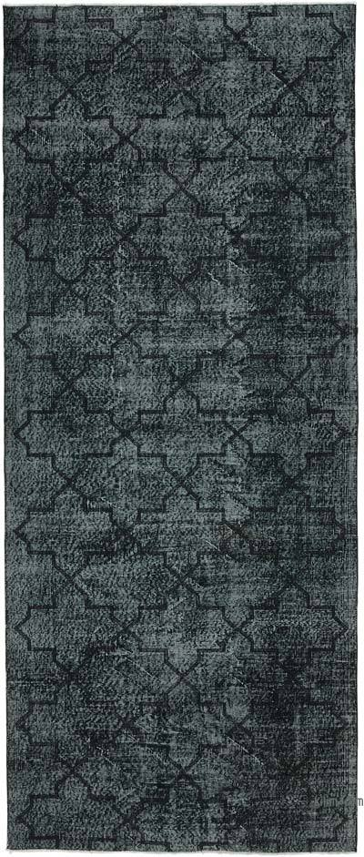 "Embroidered Over-dyed Turkish Vintage Runner - 4' 9"" x 11' 5"" (57 in. x 137 in.)"