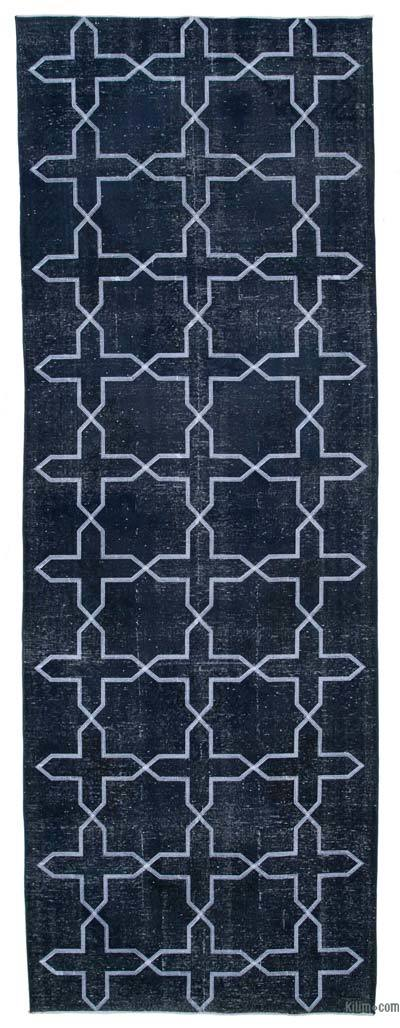"Embroidered Over-dyed Turkish Vintage Runner - 4'8"" x 13'1"" (56 in. x 157 in.)"