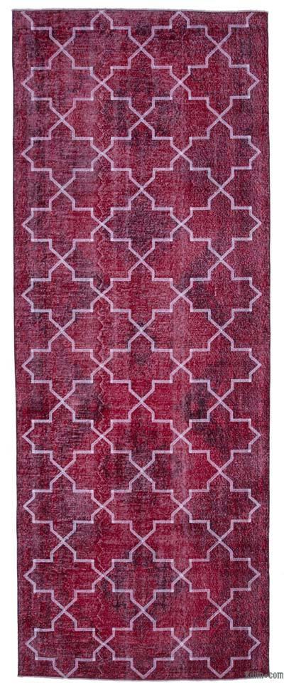 """Red Embroidered Over-dyed Turkish Vintage Runner - 4' 9"""" x 12' 6"""" (57 in. x 150 in.)"""