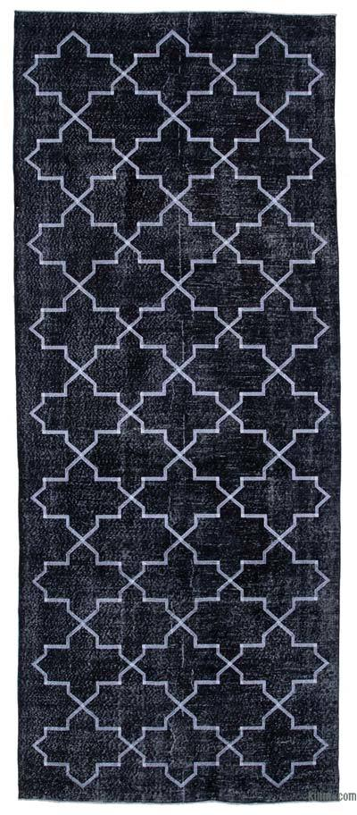 """Black Embroidered Over-dyed Turkish Vintage Runner - 5'  x 12' 4"""" (60 in. x 148 in.)"""