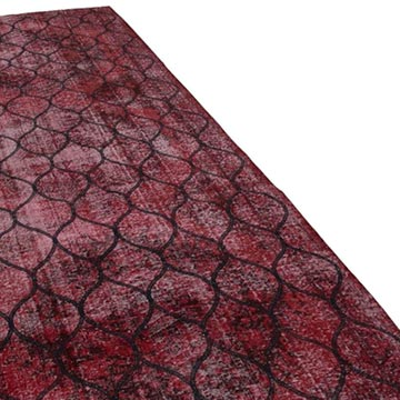 """Red Embroidered Over-dyed Turkish Vintage Runner - 4' 8"""" x 12' 8"""" (56 in. x 152 in.) - K0038657"""