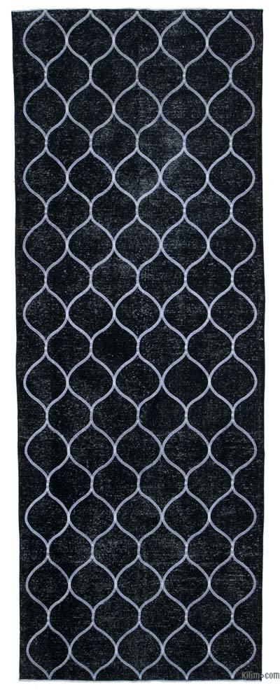"""Black Embroidered Over-dyed Turkish Vintage Runner - 4' 9"""" x 13'  (57 in. x 156 in.)"""
