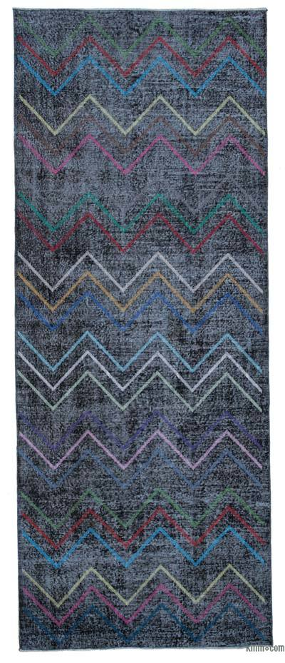 """Embroidered Over-dyed Turkish Vintage Runner - 4'10"""" x 12'2"""" (58 in. x 146 in.)"""