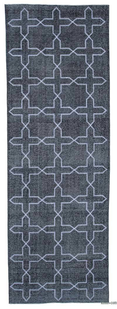 """Embroidered Over-dyed Turkish Vintage Runner - 4' 7"""" x 13' 5"""" (55 in. x 161 in.)"""