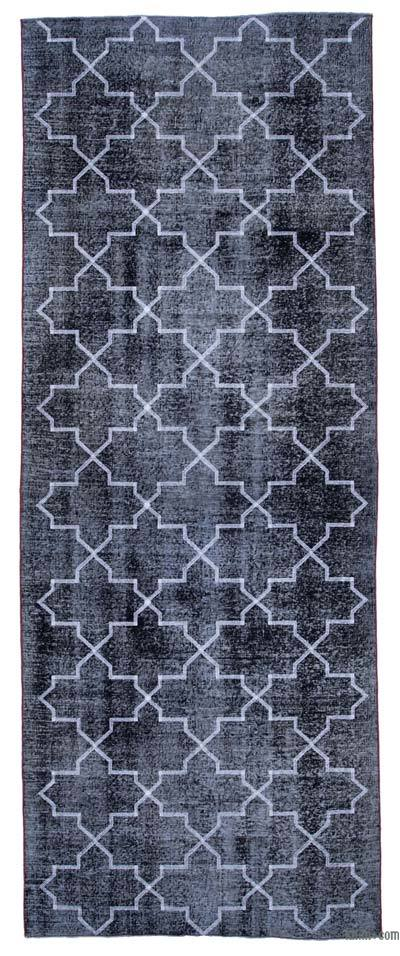 "Embroidered Over-dyed Turkish Vintage Runner - 4' 9"" x 12' 7"" (57 in. x 151 in.)"