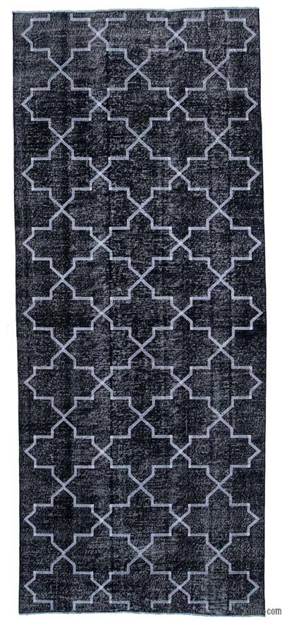 """Black Embroidered Over-dyed Turkish Vintage Runner - 4' 8"""" x 11' 7"""" (56 in. x 139 in.)"""