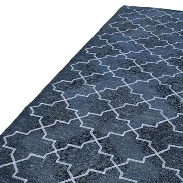 """Grey Embroidered Over-dyed Turkish Vintage Runner - 4' 9"""" x 12' 3"""" (57 in. x 147 in.) - K0038664"""