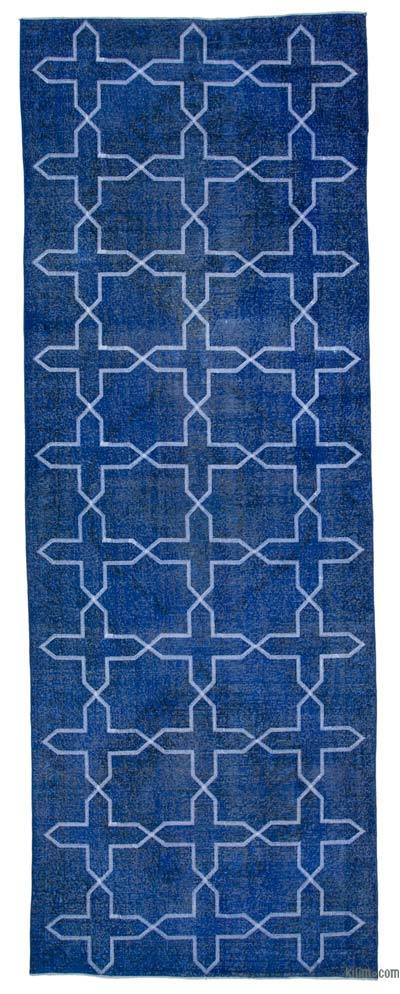 """Blue Embroidered Over-dyed Turkish Vintage Runner - 4' 9"""" x 13' 2"""" (57 in. x 158 in.)"""